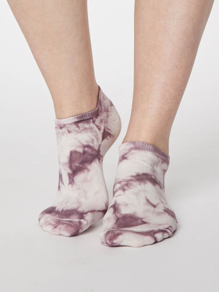 Ladies Soft Bamboo Tie Dye Trainer Socks  Size 4-7 Dark Navy by Thought Socks